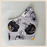 Sport themed size medium face mask covering with filter pocket
