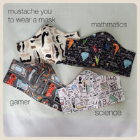 Science Technology Math and mustaches size medium face masks with filter pocket