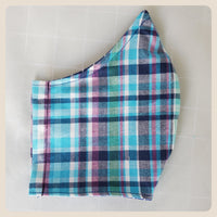 Large or medium sized blue plaid mask