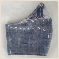 Large or medium sized distressed denim print mask