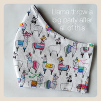 Llama have a good time face covers size small