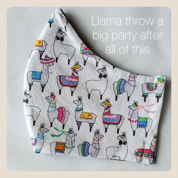 Llama have a good time face covers size medium