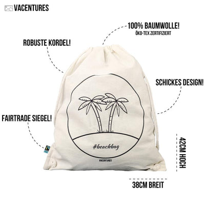 "Beachbag ""palm"" - Fairtrade Turnbeutel-Bag-DIE WELTKARTE"