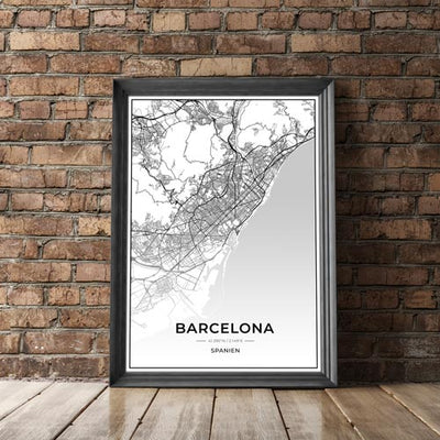 Stadt Poster - Barcelona Kartenposter / City Map
