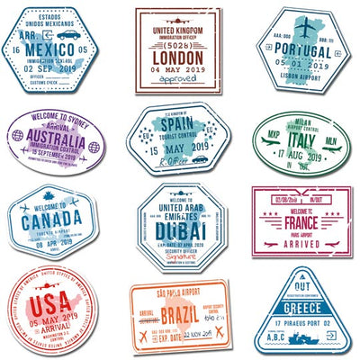 Magnet Set - Passport Stempel - 12er Set