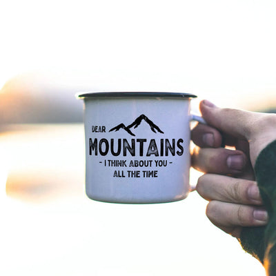 "Emaille Tasse - ""MOUNTAINS"" - Retro Look"