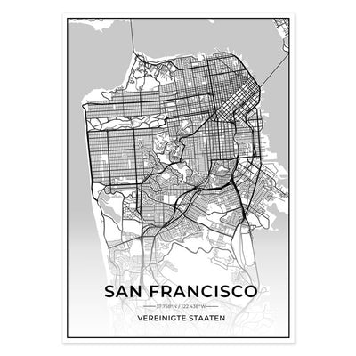 Stadt Poster - San Francisco Kartenposter / City Map