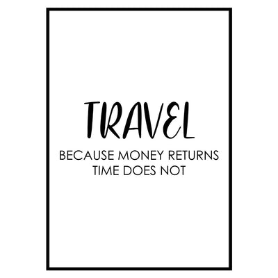 "Travel Poster - ""MONEY RETURNS TIME DOES NOT""-Poster-DIE WELTKARTE"