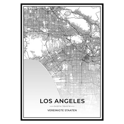 Stadt Poster - Los Angeles Kartenposter / City Map