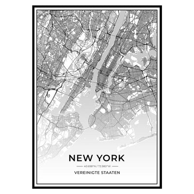 Stadt Poster - New York Kartenposter / City Map