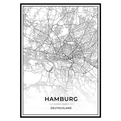 Stadt Poster - Hamburg Kartenposter / City Map