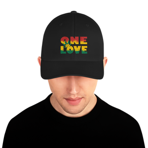 ONE LOVE Cannabis Cap. Embroidered Cap. Structured Twill Cap