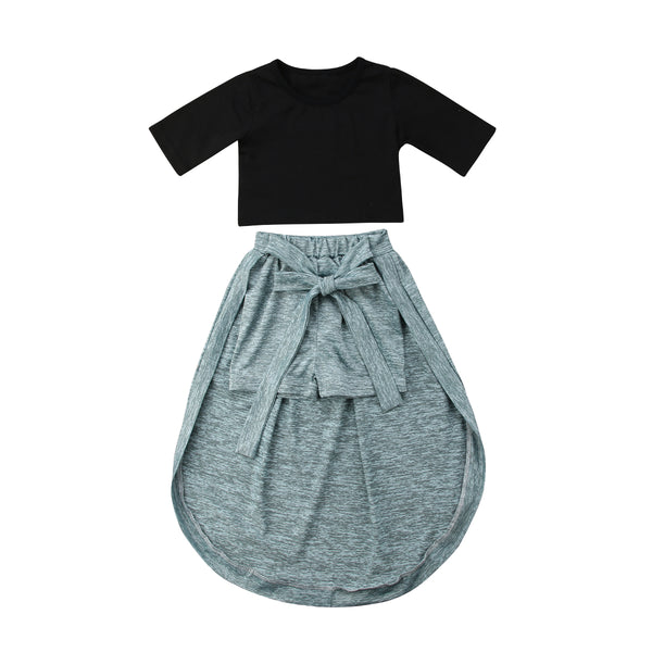 Trendy Black & Grey Skirt Like Short Dress