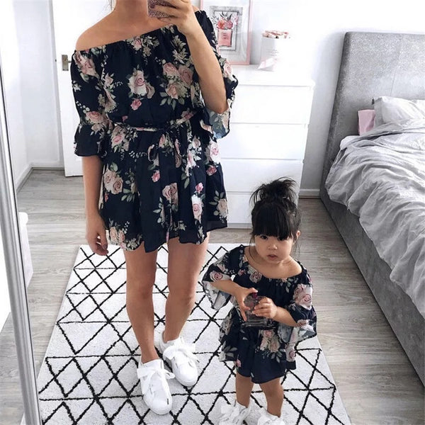 Floral off shoulder Mama Mini Dress