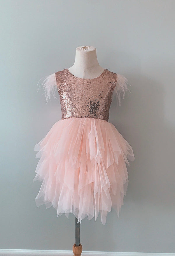 Peach Feather Party Dress
