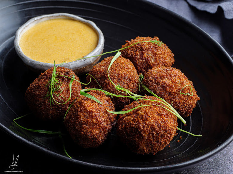 DEEP FRIED MEATBALLS WITH CHEESE SAUCE