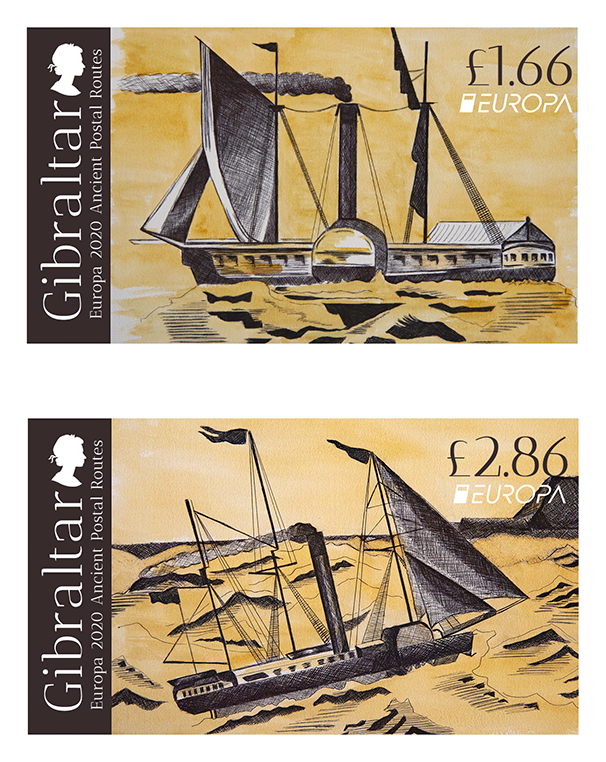 Stamp designs for Europa 2020 Ancient Postal Routes