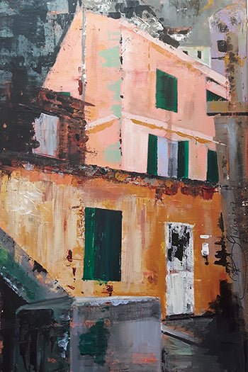 Fine art painting of houses in Caleta Beach Gibraltar by Beatrice Garcia