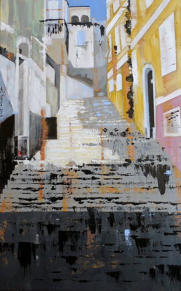 Painting of Hospital Steps Gibraltar