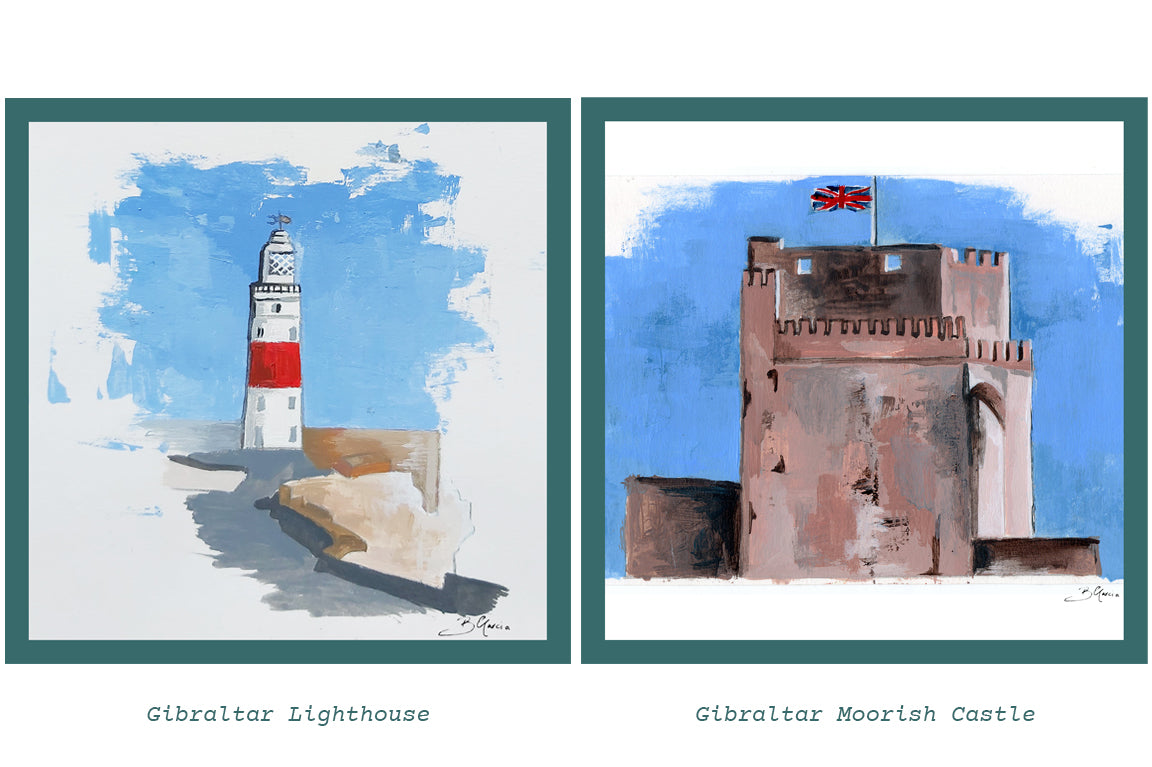 Illustrations of Gibraltar Lighthouse and Gibraltar Moorish Castle by Beatrice Garcia