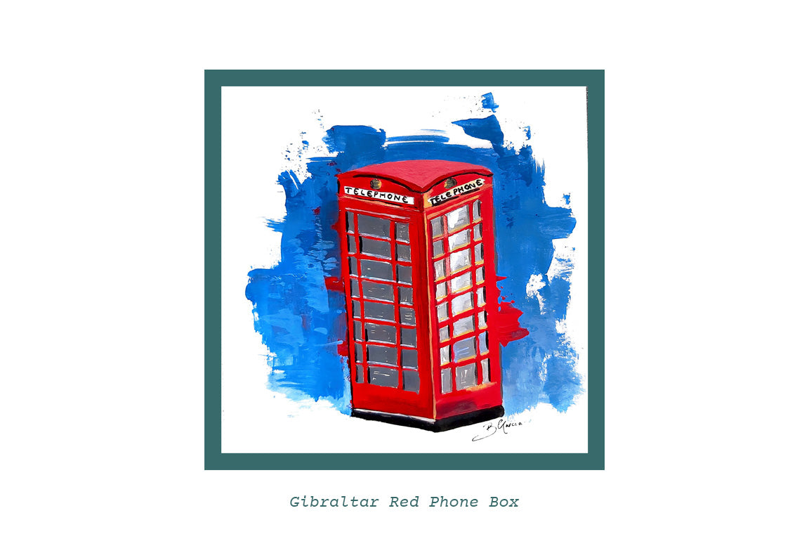 Illustration of Gibraltar Red Phone Box by Beatrice Garcia