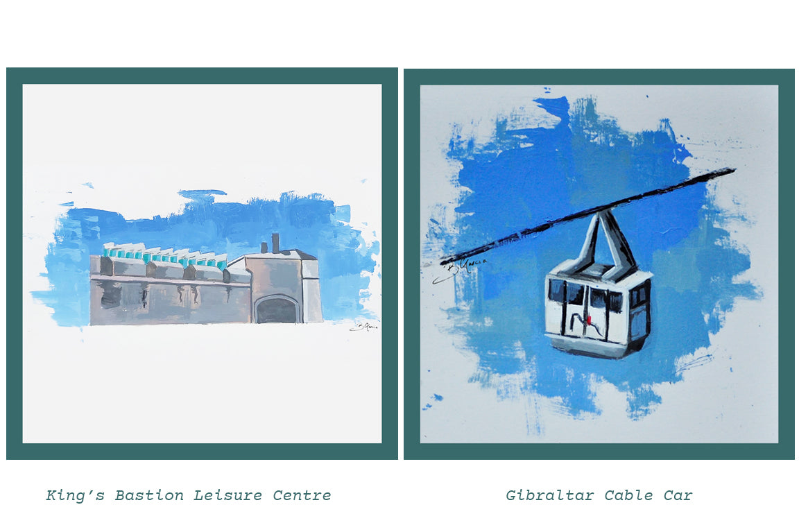 Kings Bastion Leisure Centre and Gibraltar Cable Car Illustration