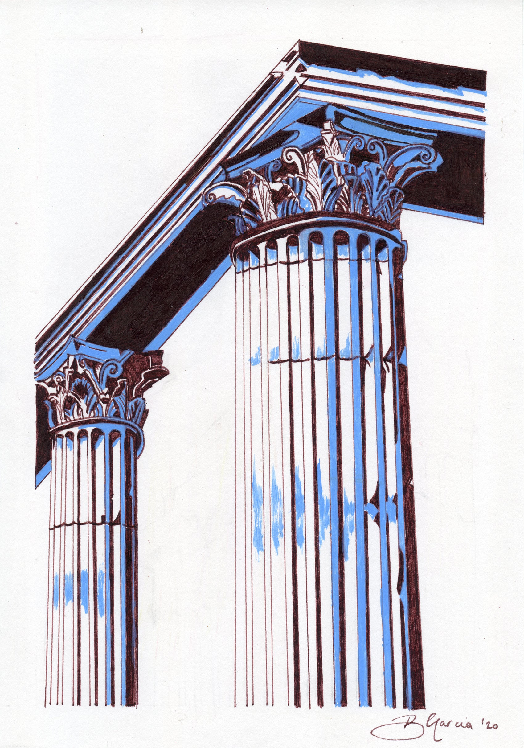 Ancient Greek temple illustration