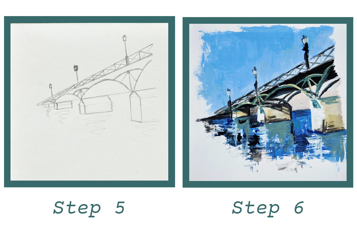 Step by Step drawing tutorial How to Draw Pont des Arts