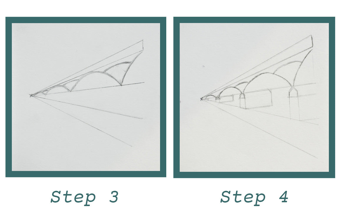 Step by Step Drawing Instructions Pont des Arts