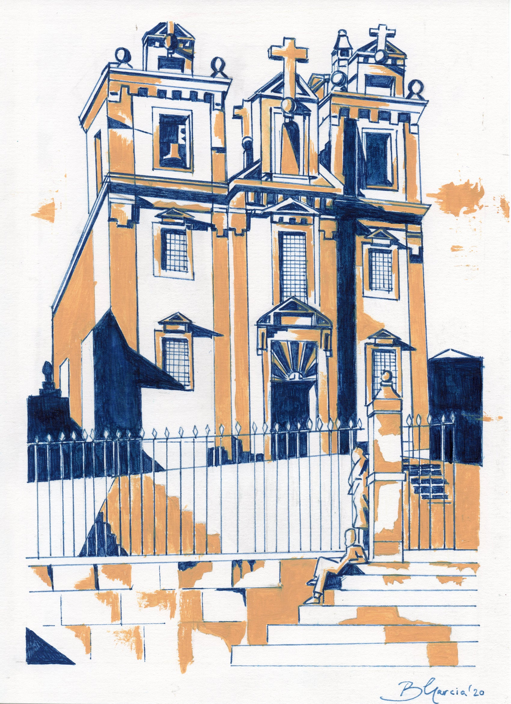 Sao Bento cathedral Porto illustration