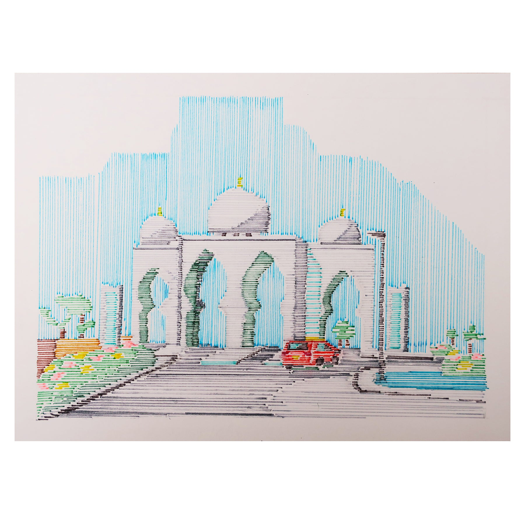 On route to Abi Dhabi mosque Illustration