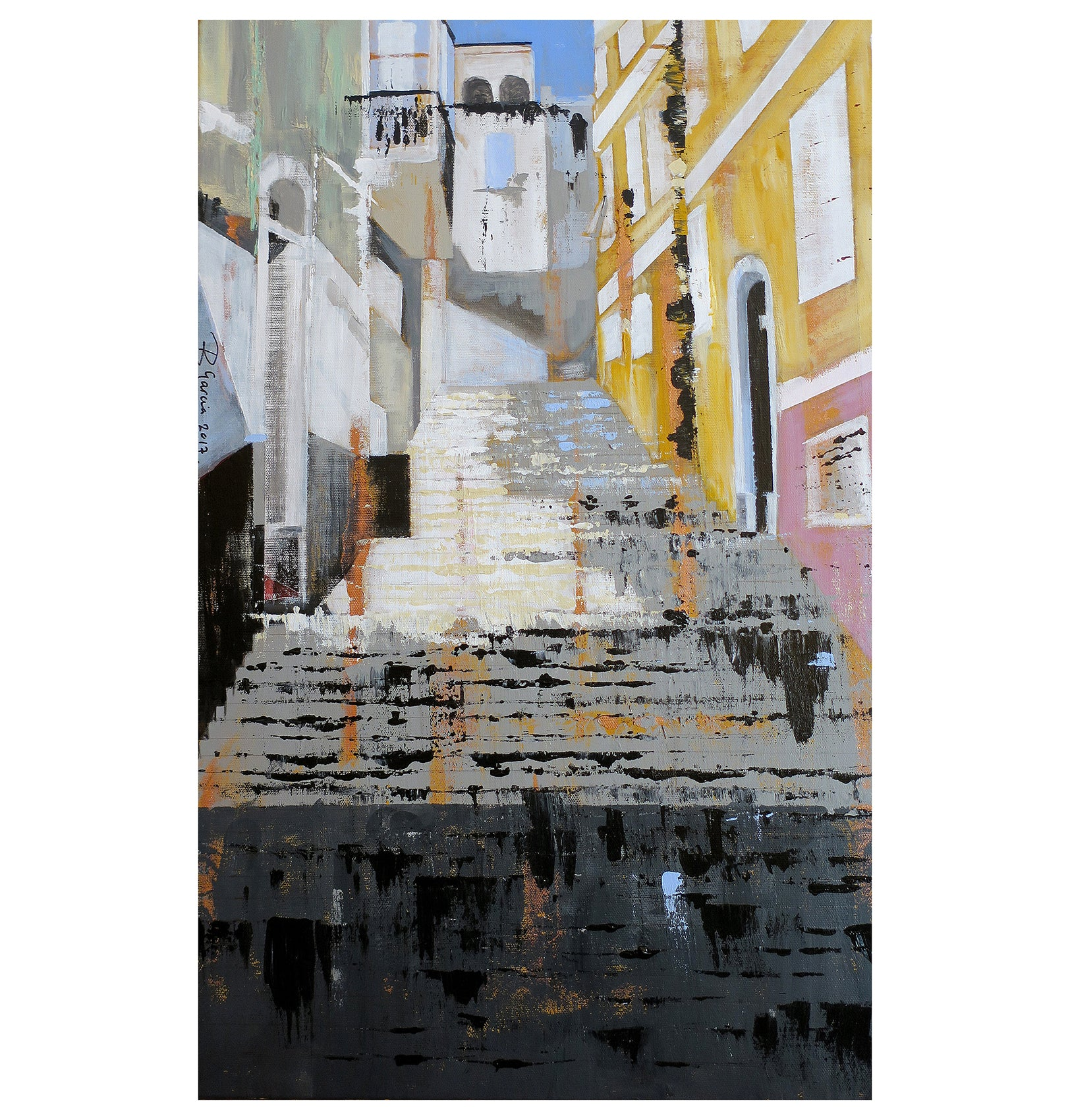 Hospital Steps Gibraltar Fine Art painting