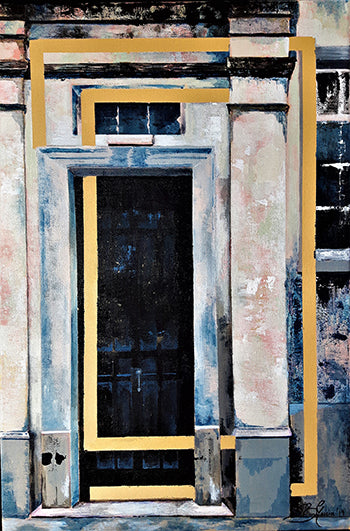Painting of doorway of Old St Bernard's School in Gibraltar. Painting by Beatrice Garcia
