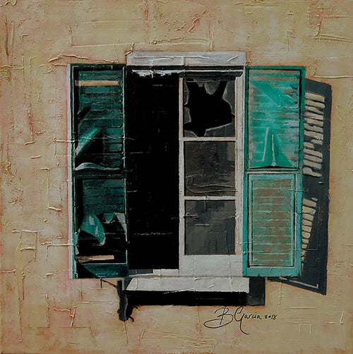 Fine art painting of viridian green, broken mediterranean shutters by Beatrice Garcia