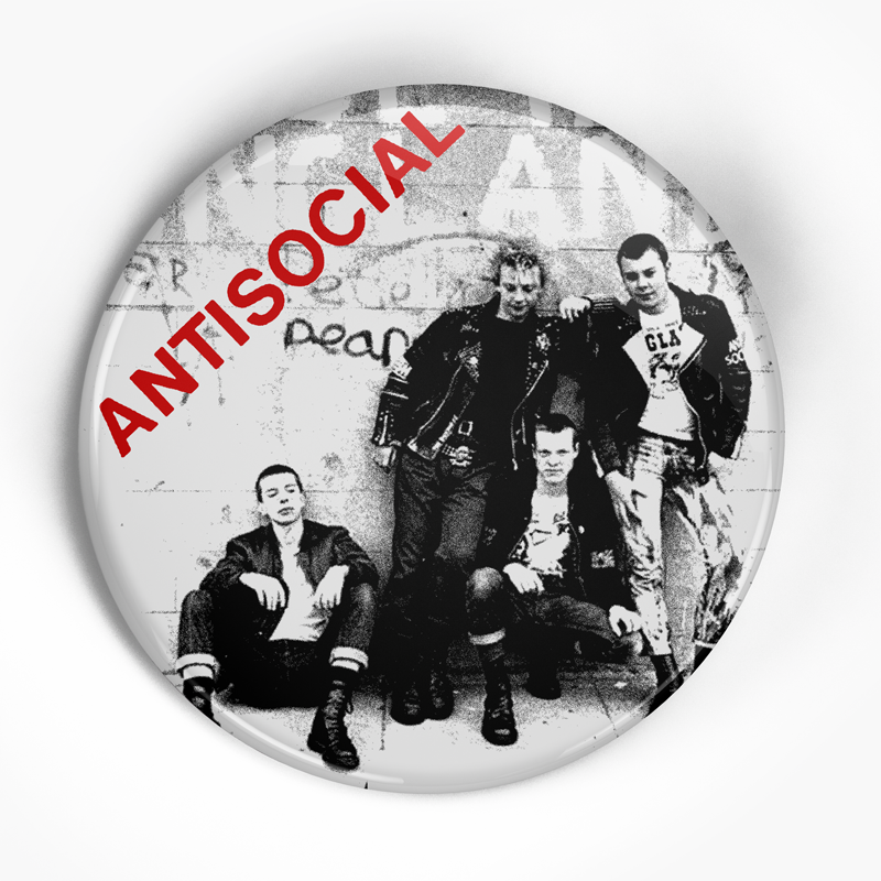 "Antisocial ""Made in England"" (1"", 1.25"", or 2.25"") Pin"