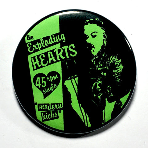 "Exploding Hearts ""Modern Kicks"" Green (1"", 1.25"", or 2.25"") Pin"