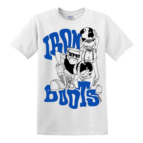 "IRON BOOTS ""Spoiler"" T-Shirt / Blue and Black on White"