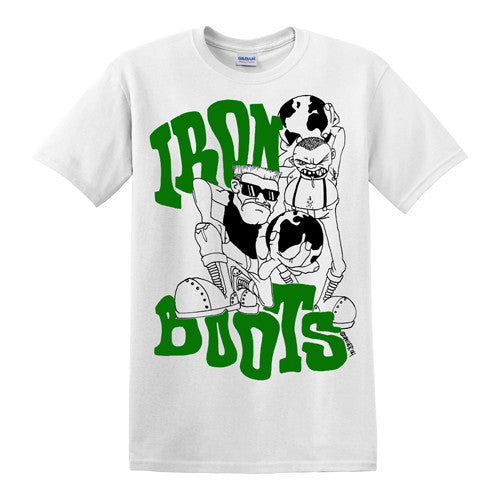 "IRON BOOTS ""Spoiler"" T-Shirt / Green and Black on White"