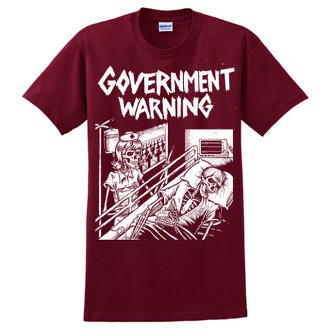 "GOVERNMENT WARNING ""No Moderation"" T-Shirt / Cardinal Red w/ White"