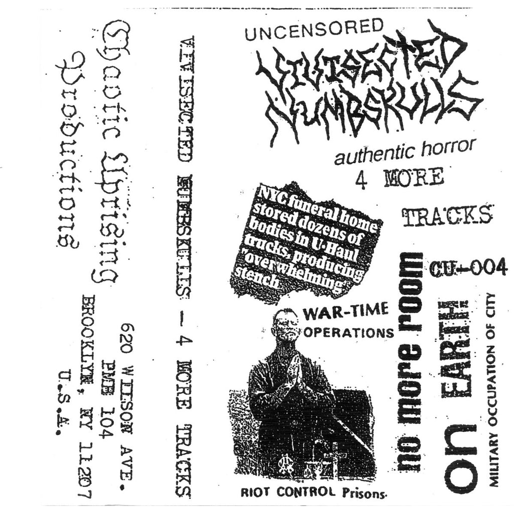"VIVISECTED NUMBSKULLS ""4 More Tracks"" Tape"