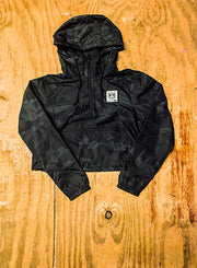 Black Camo Crop Windbreaker - Bare All Clothing