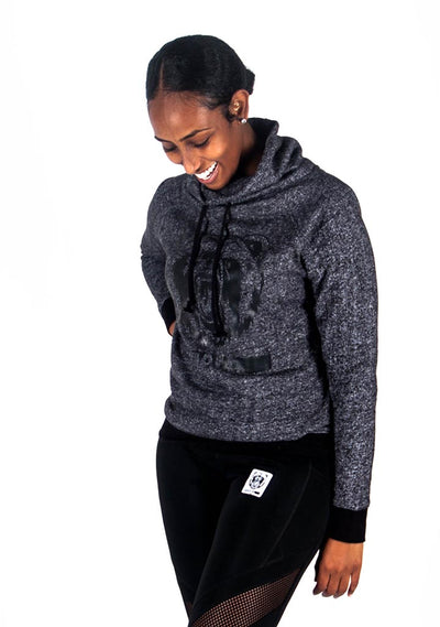 Funnel Neck Pullover (Dark Grey/Black) - Bare All Clothing