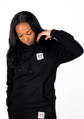Bare All Essential Patch Hoodie (Black) - Bare All Clothing
