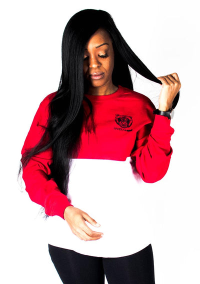 Oversize Two-Tone Long Sleeve Shirt (Red/White) - Bare All Clothing