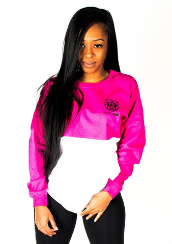 Oversize Two-Tone Long Sleeve Shirt (Pink/White) - Bare All Clothing