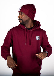 Bare All Essential Patch Hoodie (Maroon) - Bare All Clothing
