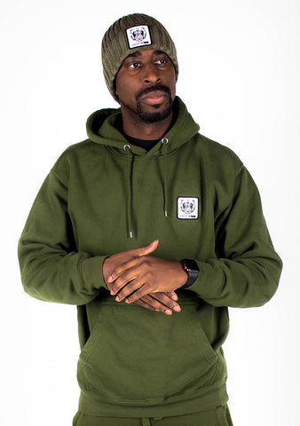 Bare All Essential Patch Hoodie (Olive) - Bare All Clothing