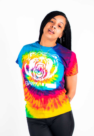 Tye-Dye Bare All T-Shirt Unisex (White/Rainbow Tye-Dye) - Bare All Clothing