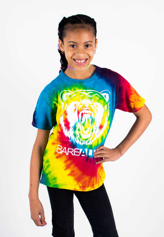 Tye-Dye Bare All T-Shirt YOUTH (White/Rainbow Tye-Dye) - Bare All Clothing
