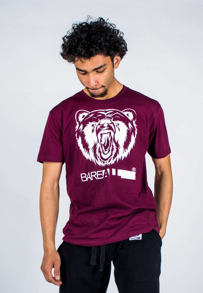 Bare All Logo T-Shirt (White/Maroon) - Bare All Clothing